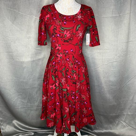 LuLaRoe Dresses & Skirts - NWT LULAROE NICOLE RED FLORAL DRESS